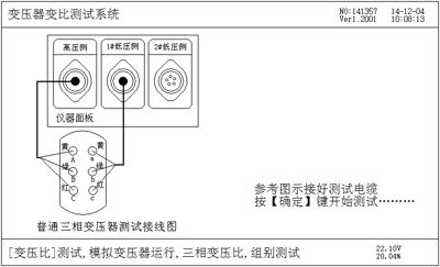 三相变压比测试接线提示屏